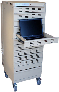 Laptop Lockup Model LL-10-07-AL 11 Drawer Aluminum Cabinet: ESD safe cabinet: Secure Laptop Storage, Secure Laptop Charging, Lockable Laptop Cabinet, GSA